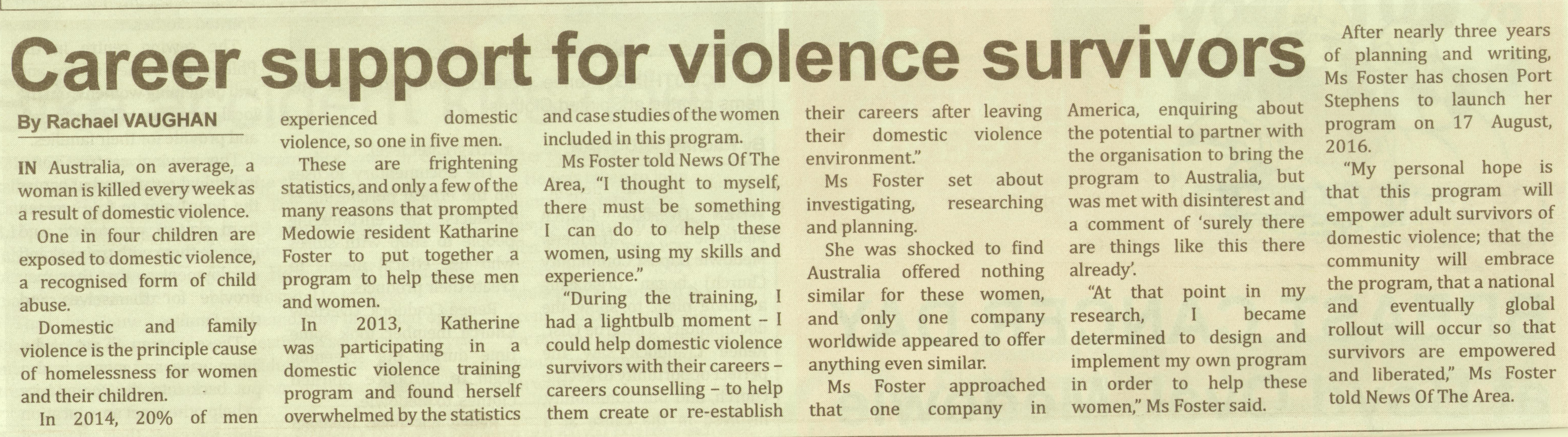 Career Counselling For Dv Survivors Editorial Published By News Of