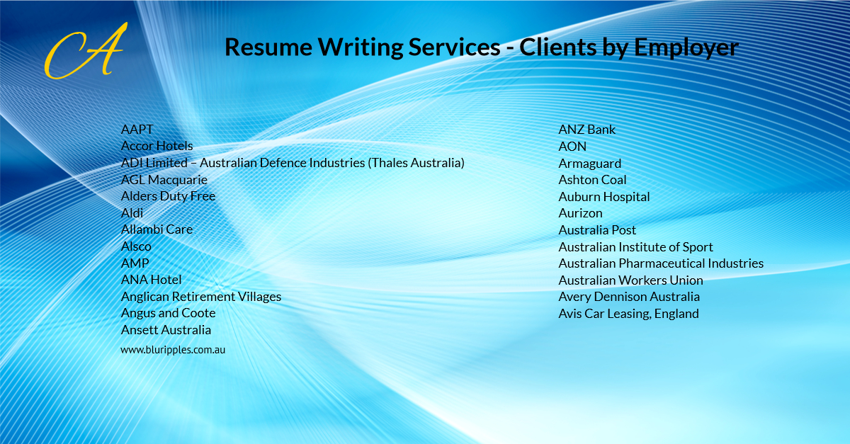 Resume Writing Services - Clients By Employer - A- Blu Ripples- Jan 2020
