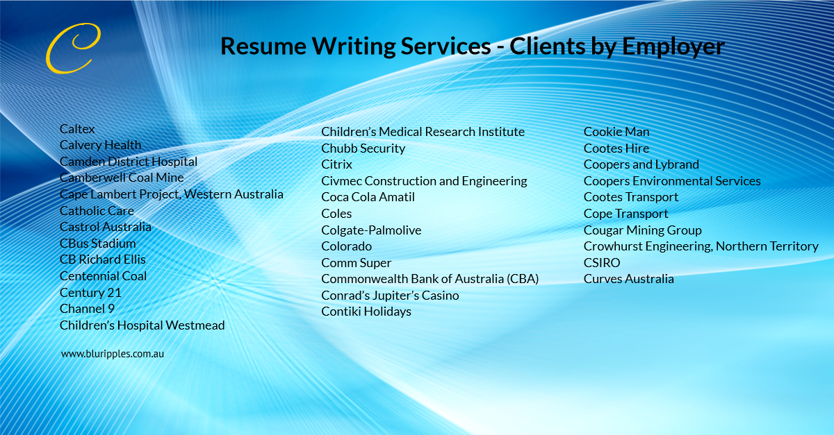 Resume Writing Services - Clients By Employer - C- Blu Ripples-Jan 2020