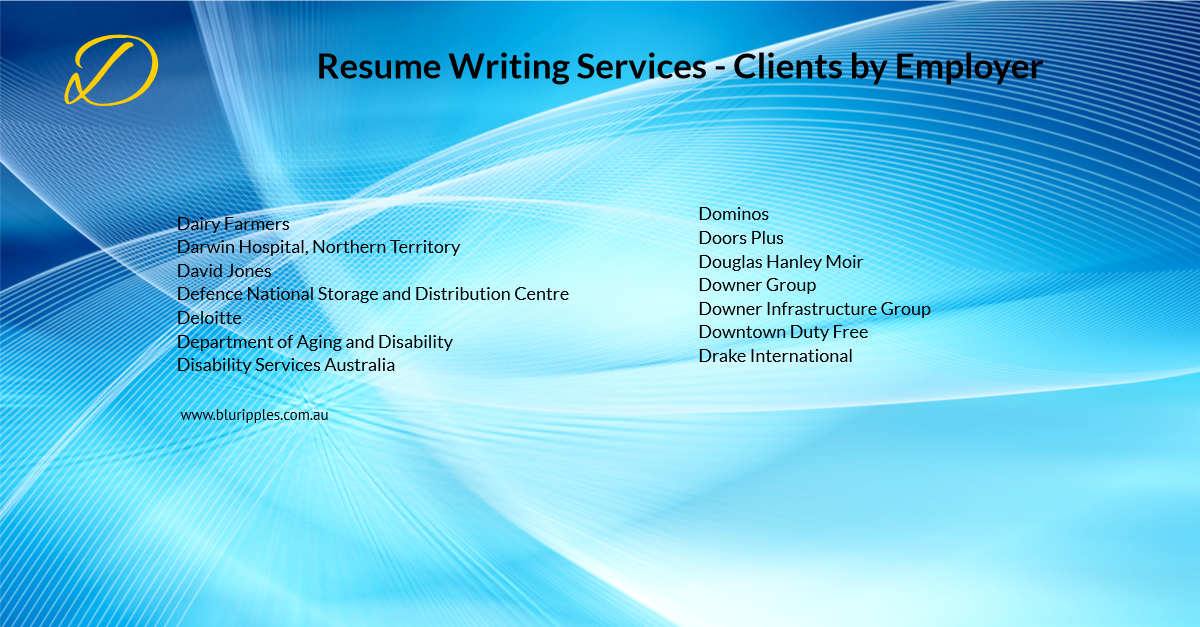 Resume Writing Services - Clients By Employer - D- Blu Ripples - Jan 2020