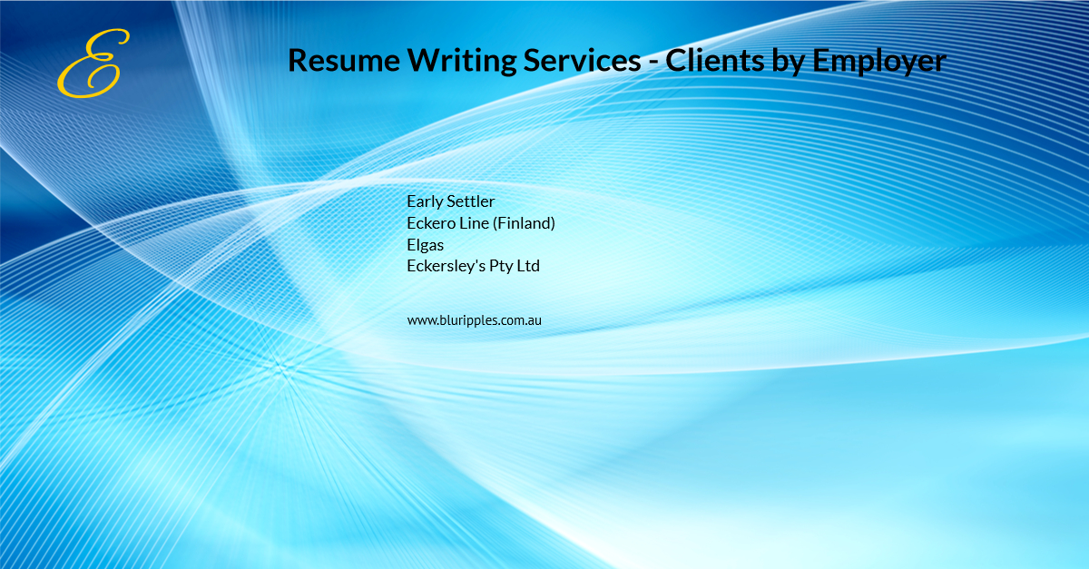 Resume Writing Services - Clients By Employer - E- Blu Ripples - Jan 2020