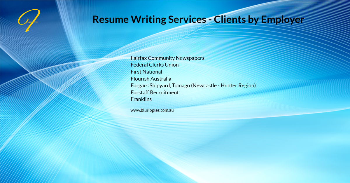 Resume Writing Services - Clients By Employer - F- Blu Ripples - Jan 2020