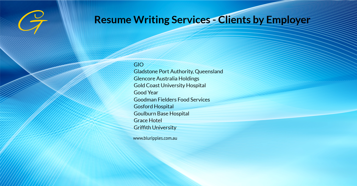 Resume Writing Services - Clients By Employer - G- Blu Ripples - Jan 2020