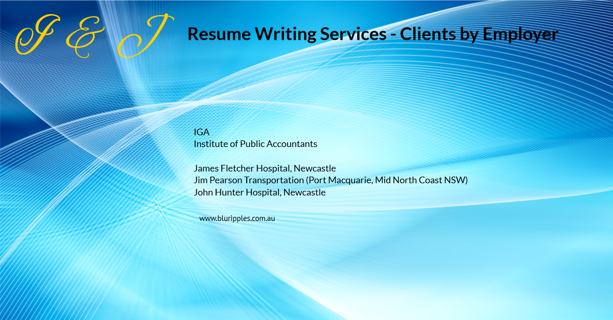Resume Writing Services - Clients By Employer - I and J - Blu Ripples - Jan 2020