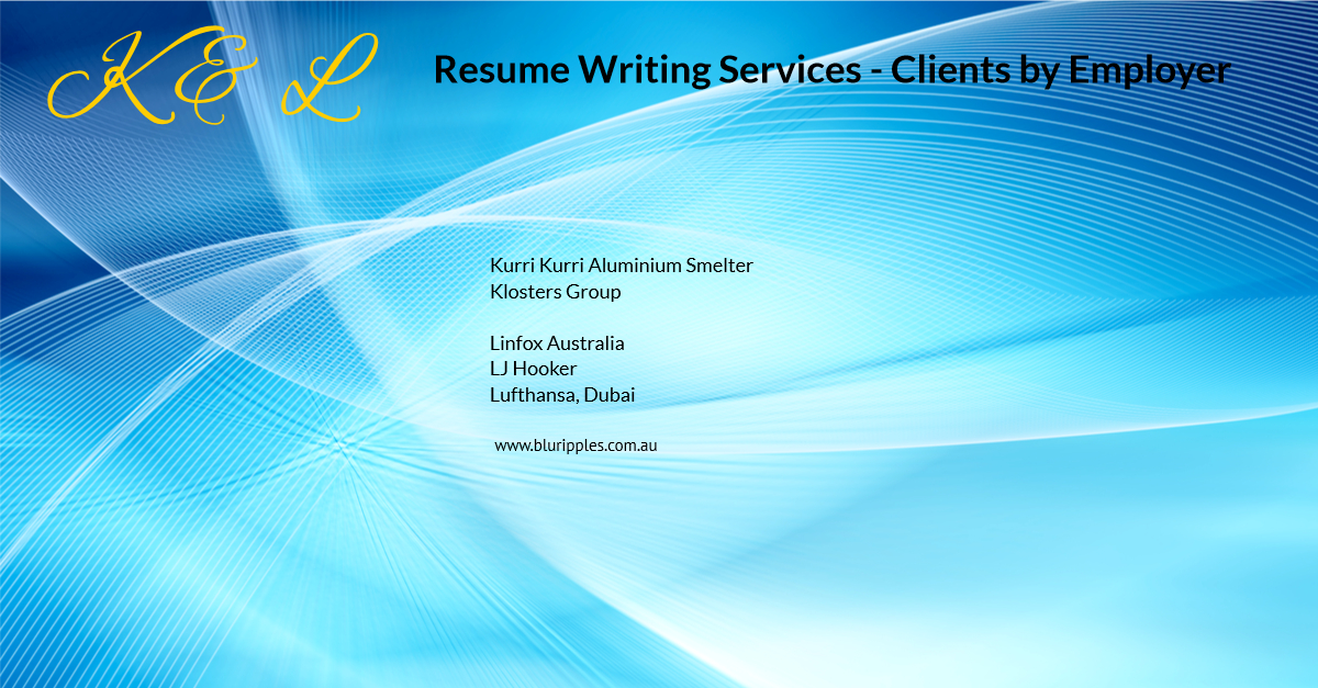 Resume Writing Services - Clients By Employer - K and L- Blu Ripples - Jan 2020