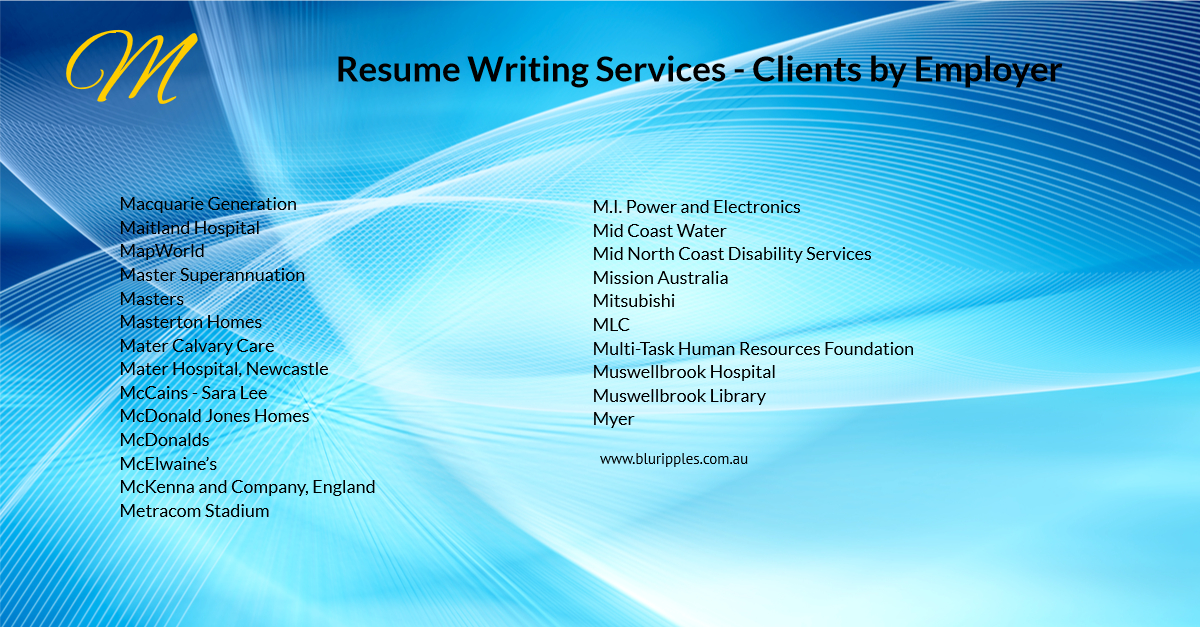 Resume Writing Services - Clients By Employer - M - Blu Ripples - Jan 2020