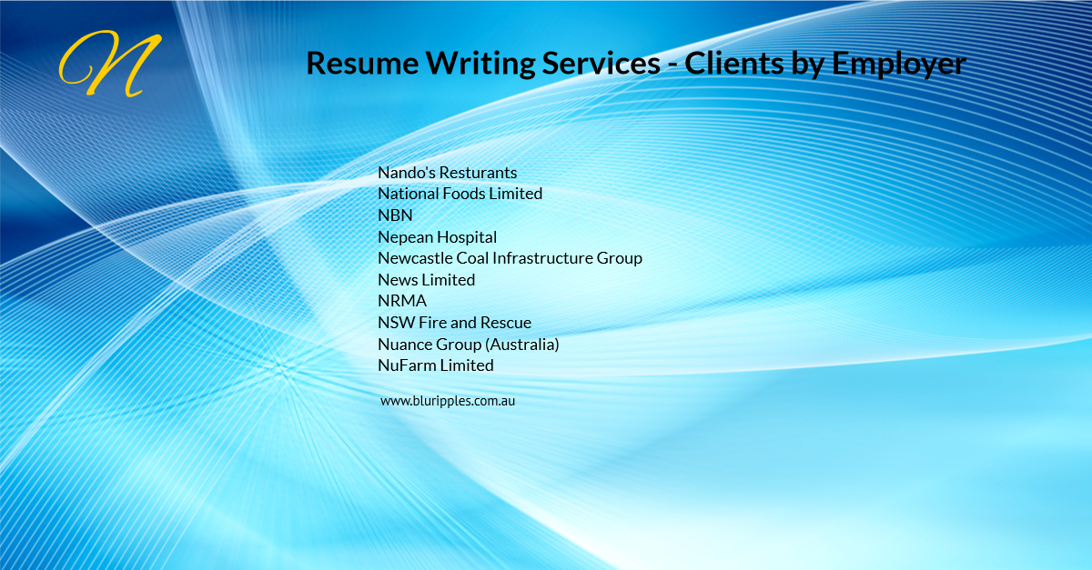 Resume Writing Services - Clients By Employer - N- Blu Ripples - Jan 2020