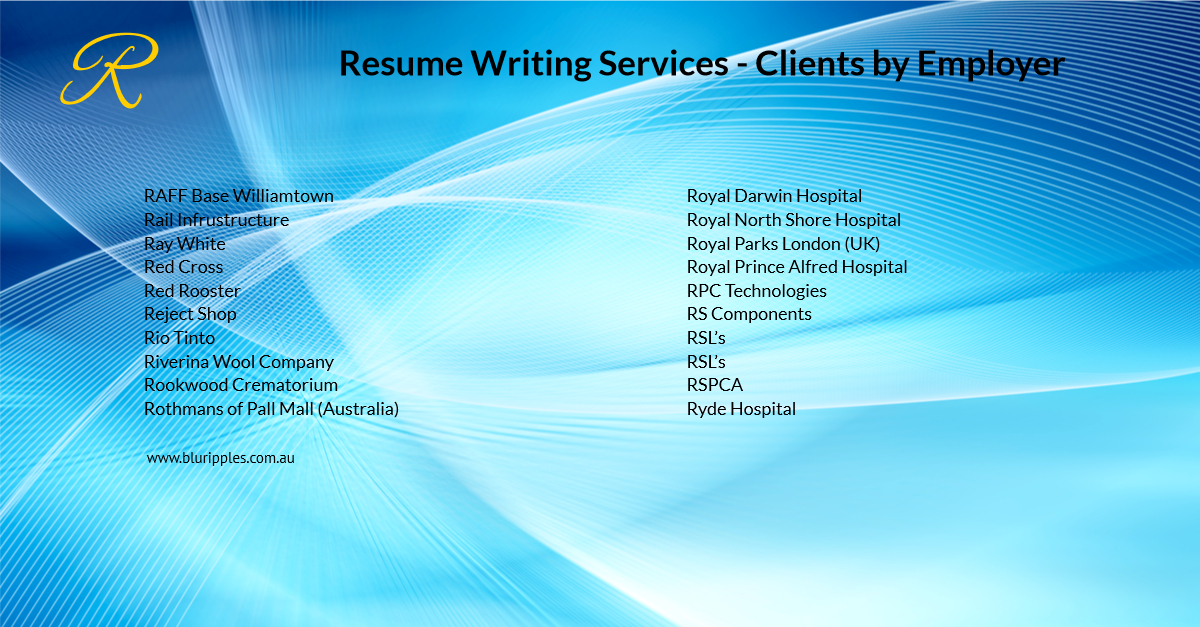 Resume Writing Services - Clients By Employer - R- Blu Ripples- Jan 2020