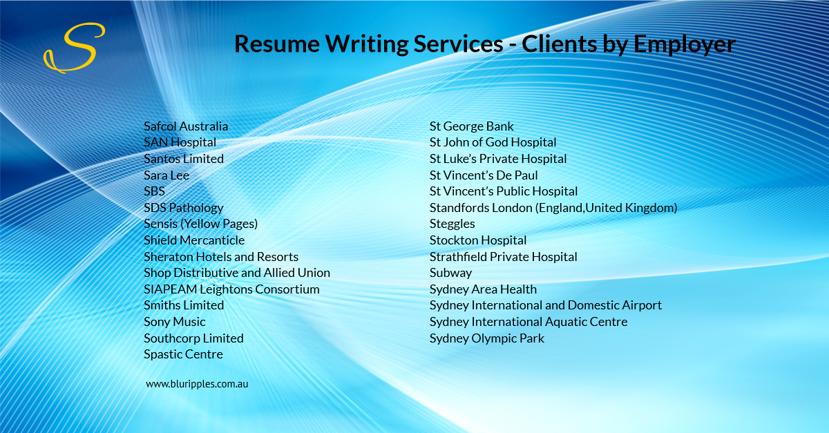 Resume Writing Services - Clients By Employer - S- Blu Ripples - Jan 2020