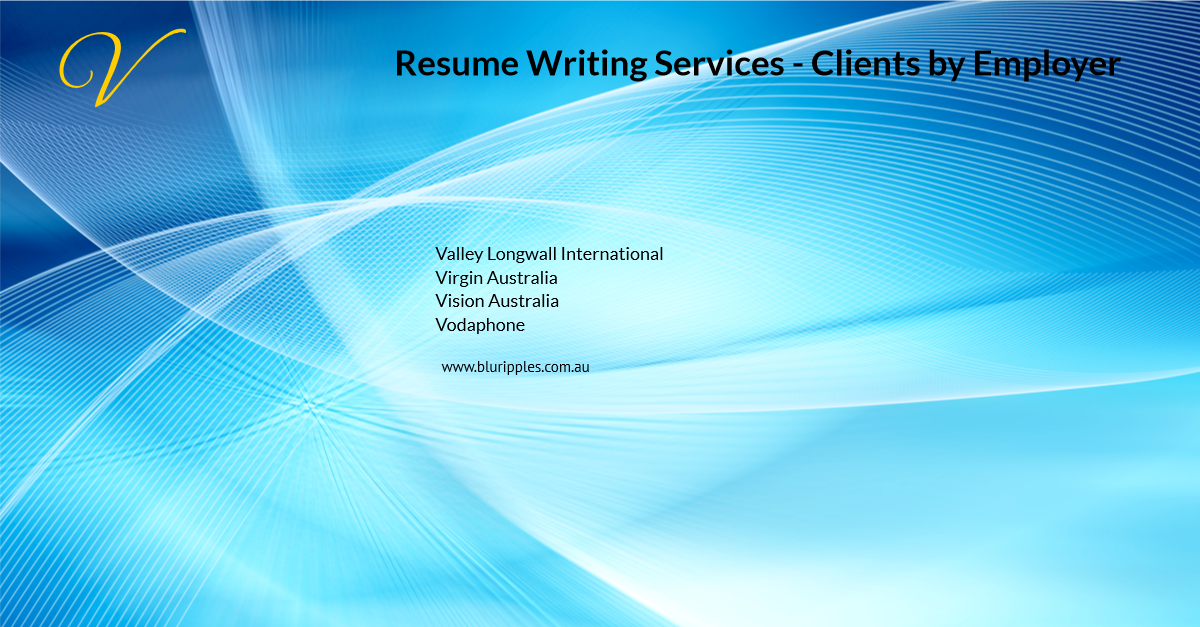 Resume Writing Services - Clients By Employer - V- Blu Ripples - Jan 2020