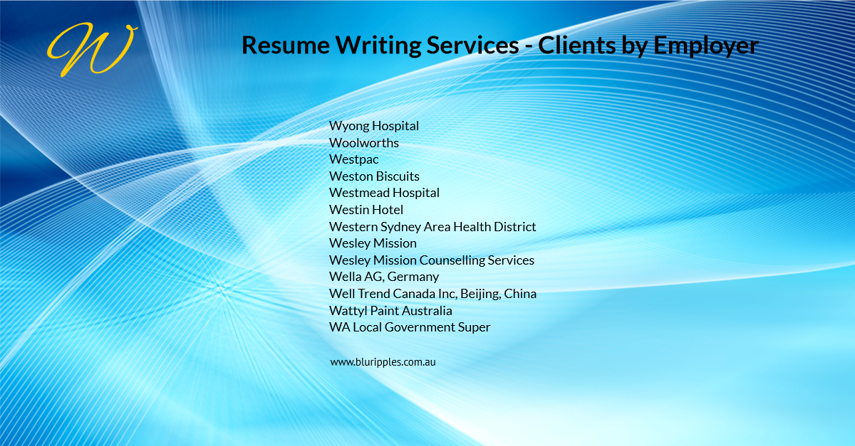 Resume Writing Services - Clients By Employer - W- Blu Ripples - Jan 2020