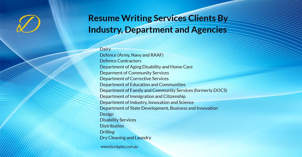 Resume Writing Services - Clients By Industry Department Agencies - D- Blu Ripples - Jan 2020