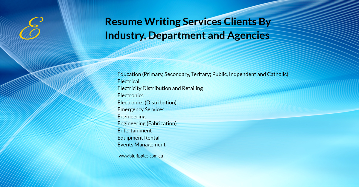 Resume Writing Services - Clients By Industry Department Agencies - E - Blu Ripples - Jan 2020