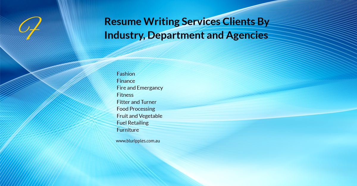 Resume Writing Services - Clients By Industry Department Agencies - F- Blu Ripples - Jan 2020