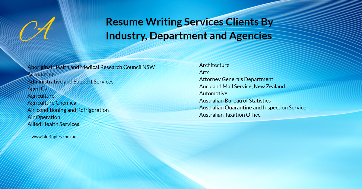 Resume Writing Services - Clients By Industry Department and Agencies - A - Blu Ripples - Jan 2020
