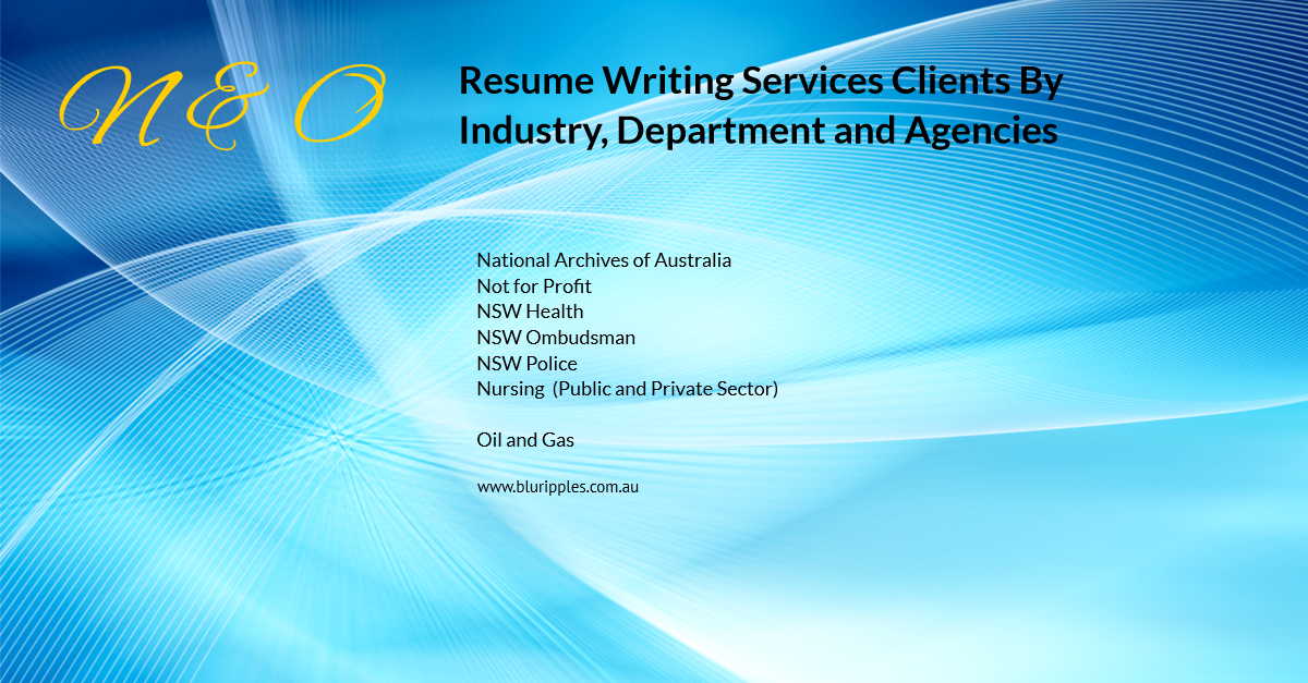 Resume Writing Services - Clients By Industry Department and Agencies - N and O - Blu Ripples - Jan 2020