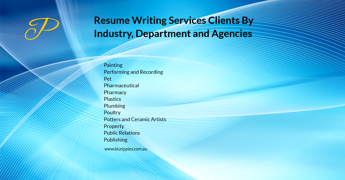 Resume Writing Services - Clients By Industry Department and Agencies - P - Blu Ripples - Jan 2020