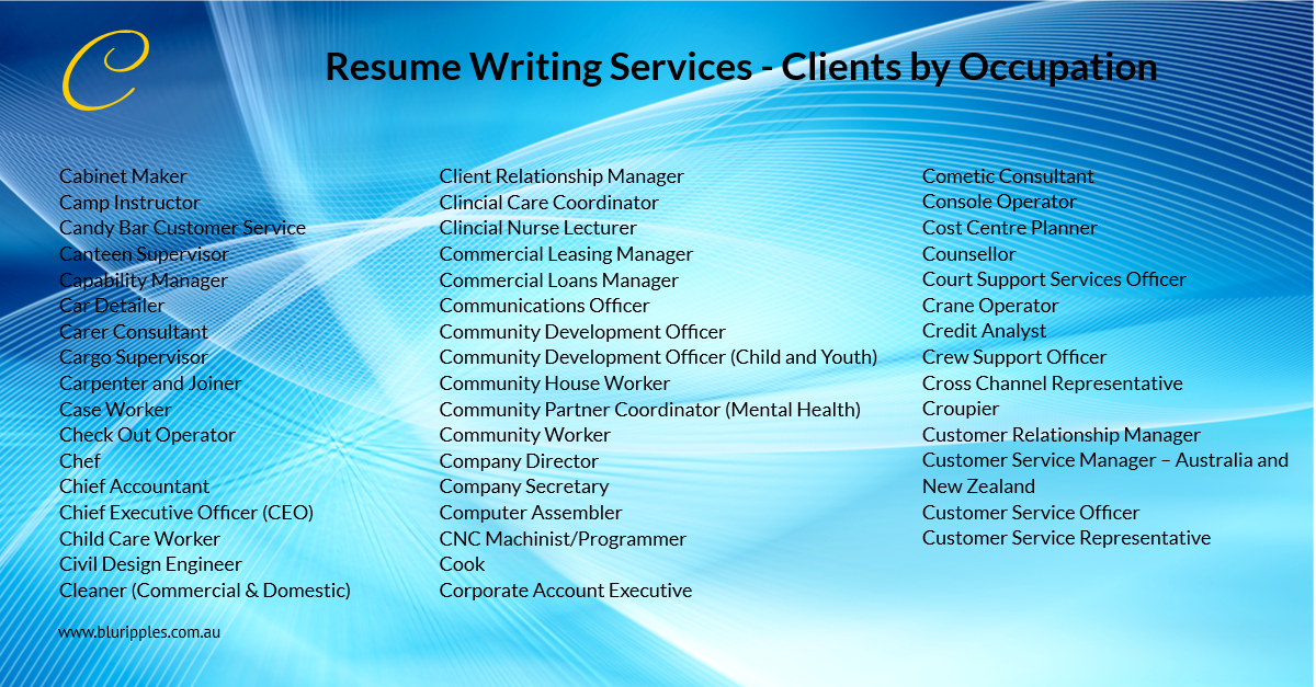 Resume Writing Services - Clients By Occupation - C - Blu Ripples-Jan 2020