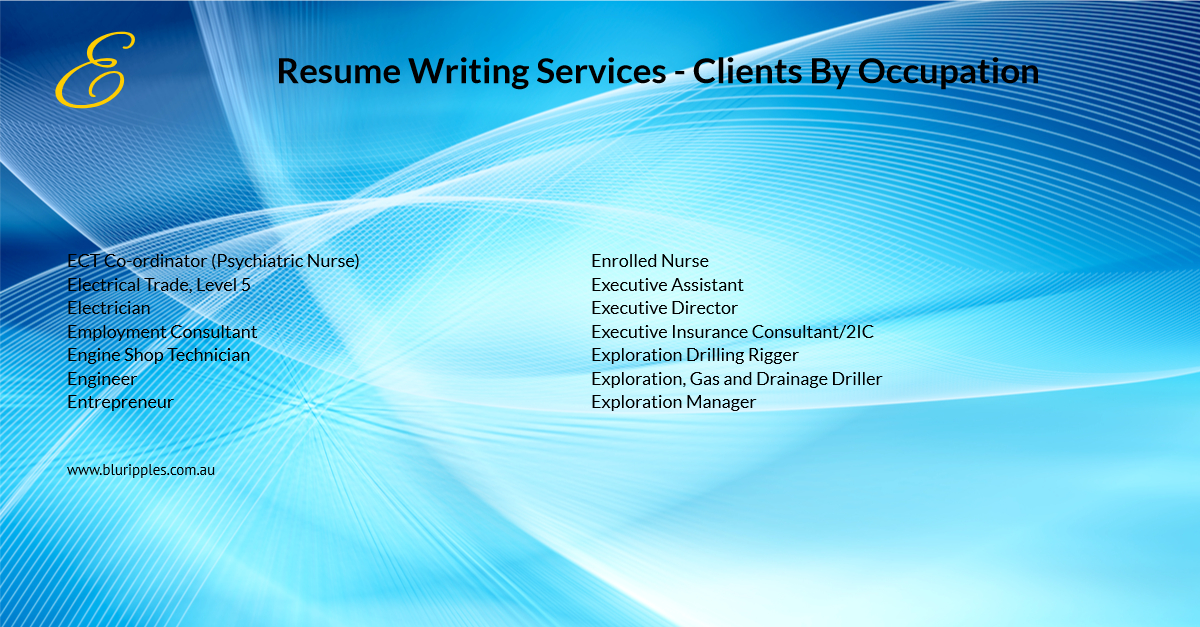 Resume Writing Services - Clients By Occupation - E - Blu Ripples - Jan 2020