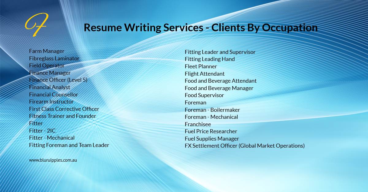 Resume Writing Services - Clients By Occupation F