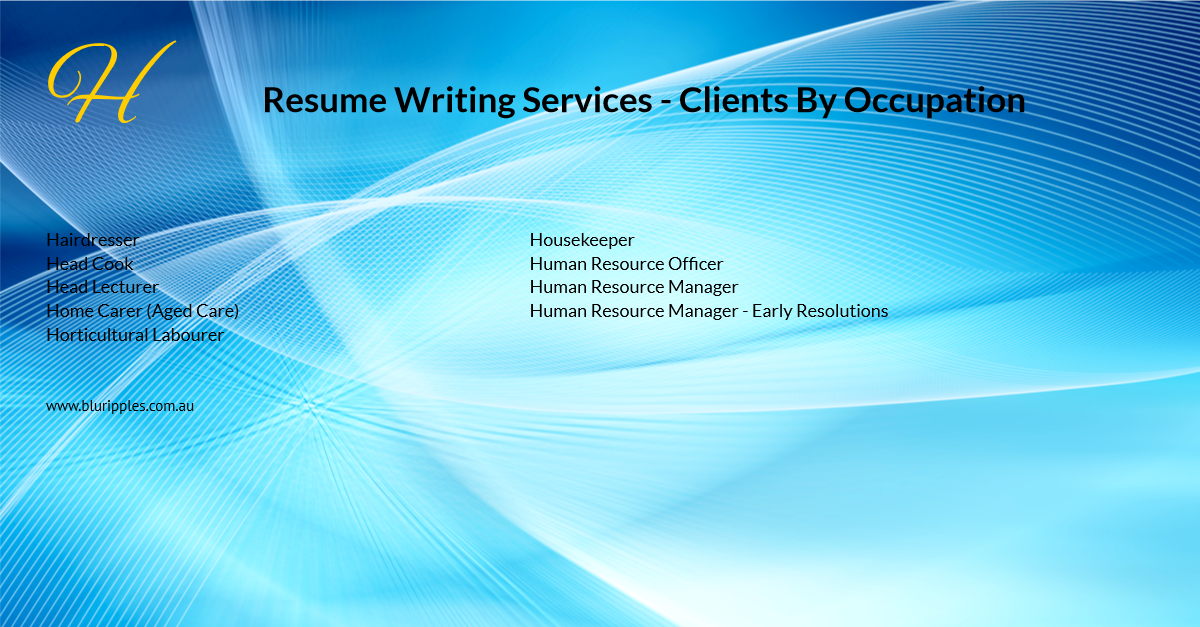 Resume Writing Services - Clients By Occupation - H - Blu Ripples - Jan 2020