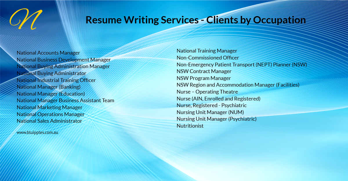 Resume Writing Services - Clients By Occupation - N - Blu Ripples - Jan 2020