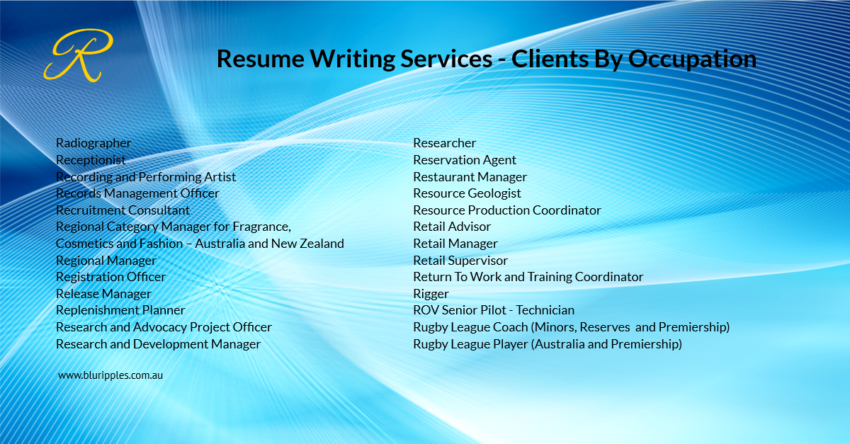 Resume Writing Services - Clients By Occupation - R - Blu Ripples- Jan 2020