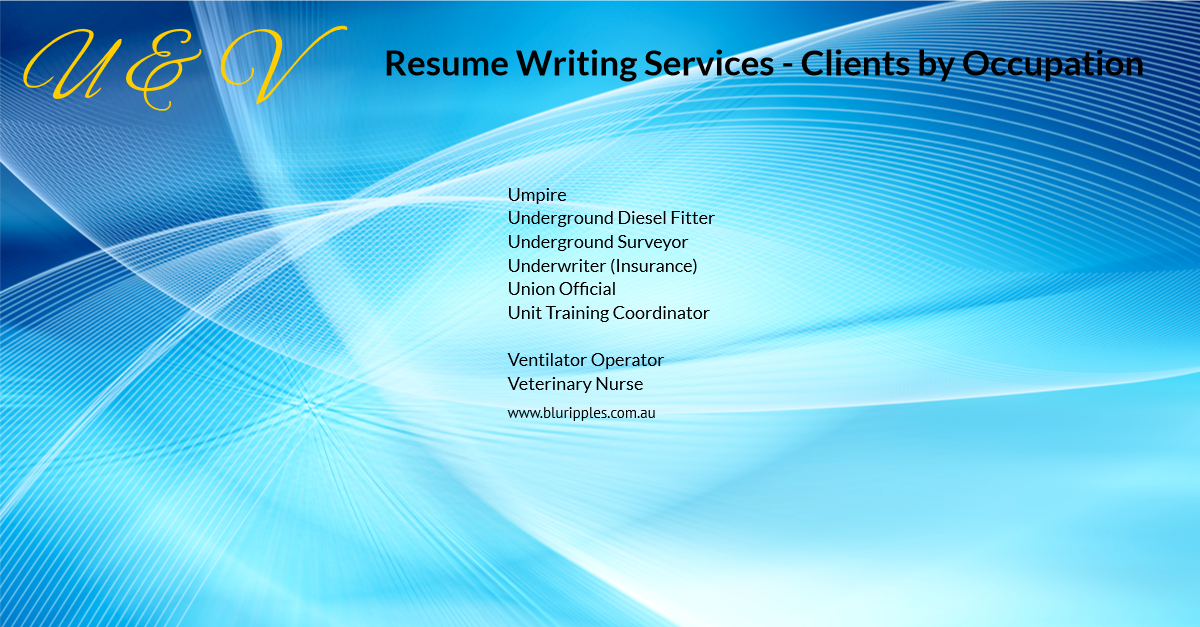 Resume Writing Services - Clients By Occupation - U & V - Blu Ripples - Jan 2020