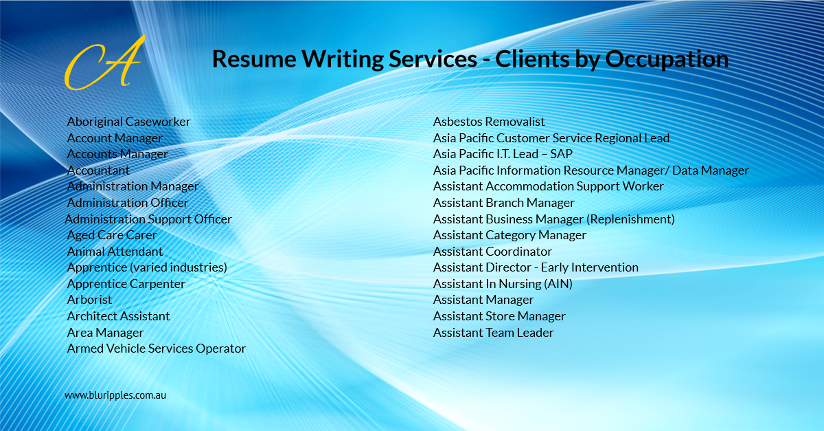Resume Writing Services - Clients by Occupation - A - Blu Ripples-2020