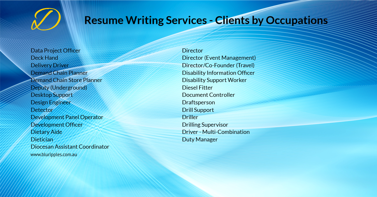 Resume Writing Services - Clients by Occupation - D - Blu Ripples - Jan 2020