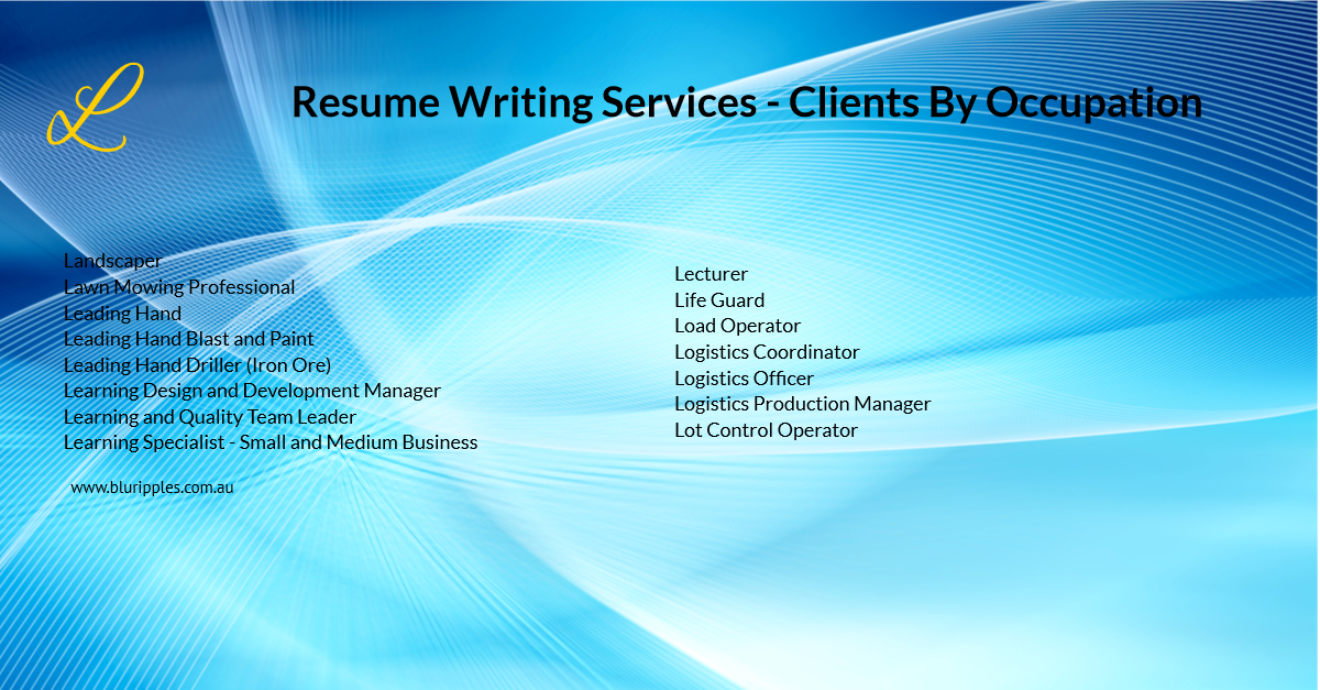 Resume Writing Services - Clients by Occupation - L - Blu Ripples - Jan 2020