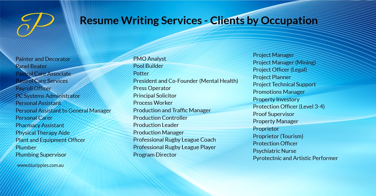 Resume Writing Services - Clients by Occupation - P - Blu Ripples - Jan 2020
