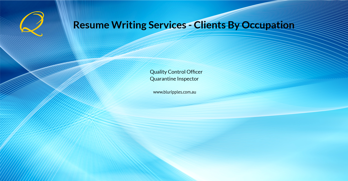 Resume Writing Services - Clients by Occupation - Q - Blu Ripples - Jan 2020