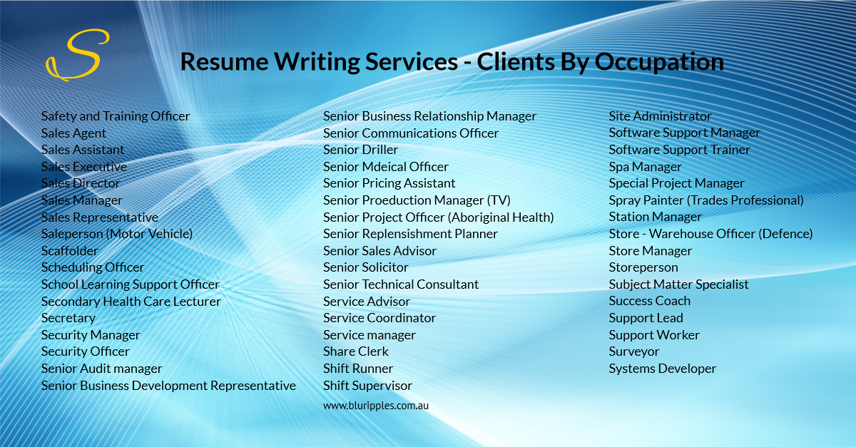Resume Writing Services - Clients by Occupation - S - Blu Ripples - Jan 2020