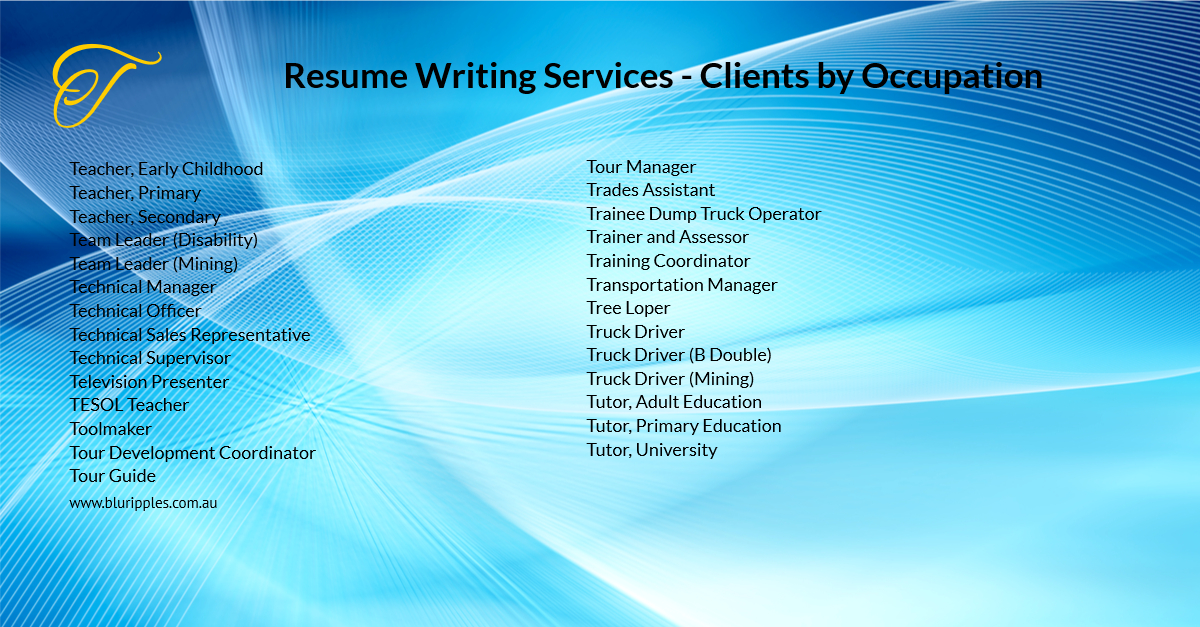 Resume Writing Services - Clients by Occupation - T - Blu Ripples - Jan 2020