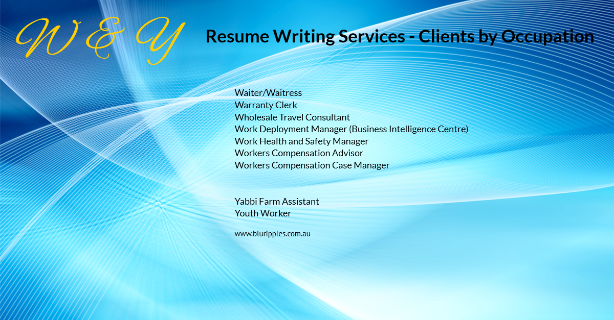 Resume Writing Services - Clients by Occupation - W & Y - Jan 2020