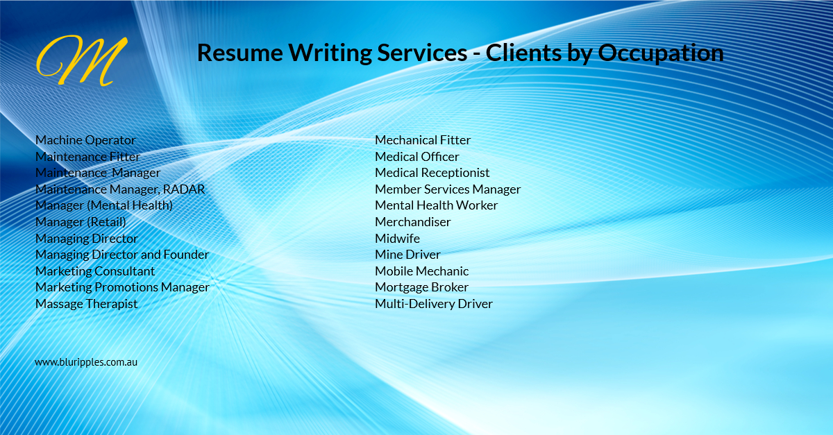Resume Writing Services - Clients by Occupations - M - Blu Ripples - Jan 2020
