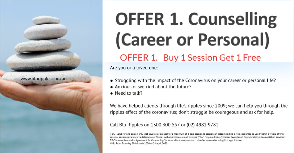 Blu Ripples Personal and Career Counselling Services - COVID-19 (Coronavirus) promotion; valid to 28th April 2020