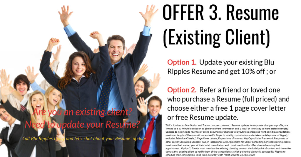 Blu Ripples Resume Writing Services for Existing Clients; COVID-19 Promotion
